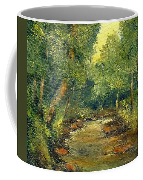Creek Coffee Mug featuring the painting A Quiet Place by Gail Kirtz