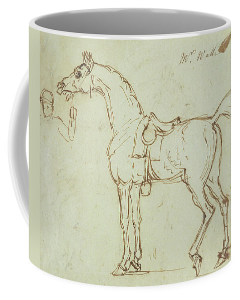 Horse Coffee Mug featuring the drawing A Racehorse, Bridled And Saddled by James Seymour