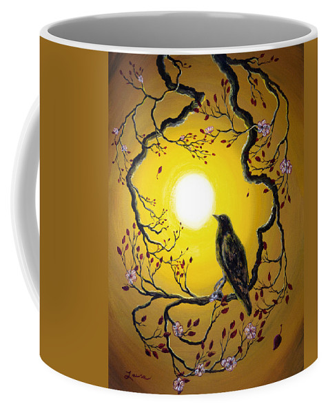 Painting Coffee Mug featuring the painting A Raven Remembers Spring by Laura Iverson