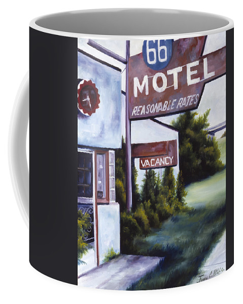 Motel; Route 66; Desert; Abandoned; Delapidated; Lost; Highway; Route 66; Road; Vacancy; Run-down; Building; Old Signage; Nastalgia; Vintage; James Christopher Hill; Jameshillgallery.com; Foliage; Sky; Realism; Oils Coffee Mug featuring the painting A Road Less Traveled by James Christopher Hill