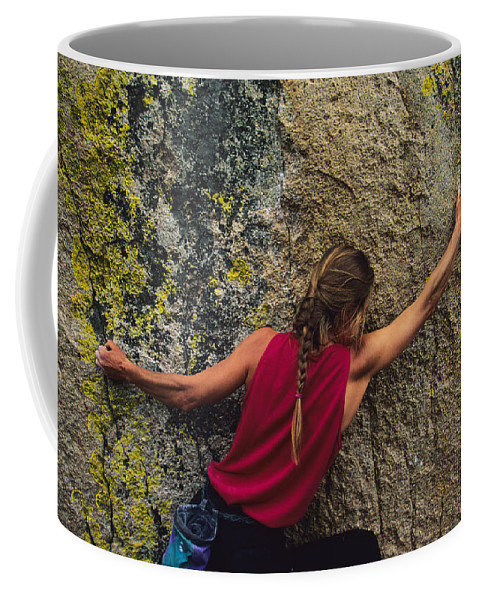 One Person Coffee Mug featuring the photograph A Rock Climber On A Boulder by Bill Hatcher