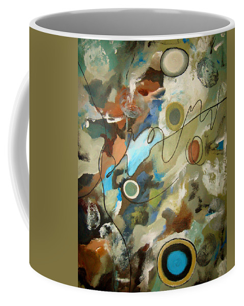 Abstract Coffee Mug featuring the painting A Rolling Stone Gathers No Moss by Ruth Palmer