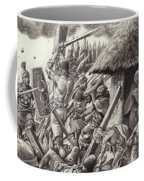Roman Coffee Mug featuring the painting A Roman Legion Storms Maiden Castle by Pat Nicolle