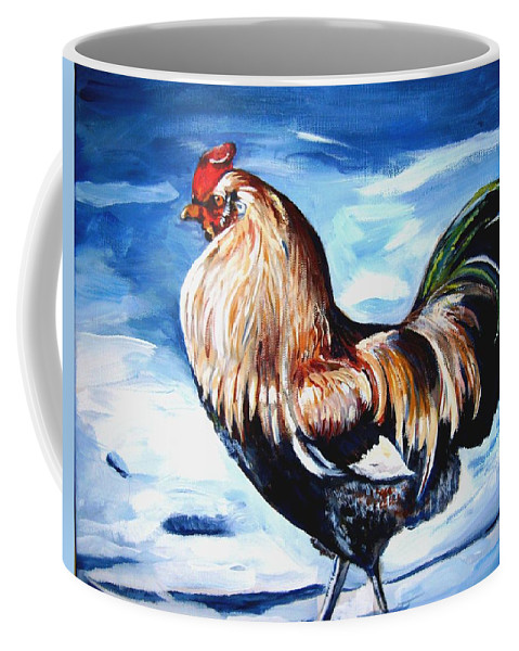 Snow Coffee Mug featuring the painting A Rooster In Maine by Marsha Hale