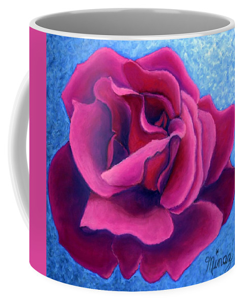 Rose. Pink Rose Coffee Mug featuring the painting A Rose is a Rose.. by Minaz Jantz