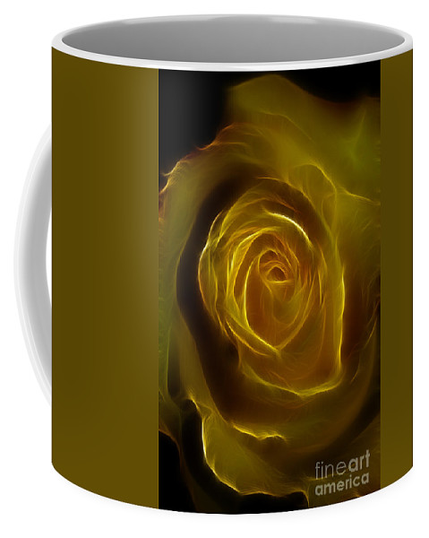 Yellow Coffee Mug featuring the photograph A Rose Of Yellow by Deborah Benoit