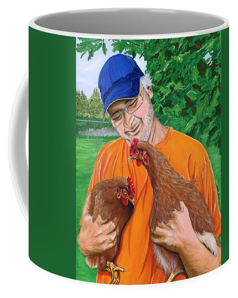 Chicken Rescue Sanctuary Portrait Chicken Landscape Pet Companion Coffee Mug featuring the painting A Safe Place To Land by Twyla Francois