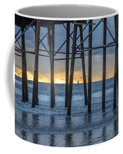 Beach Coffee Mug featuring the photograph A Sailboat Au Piers by Peter Tellone