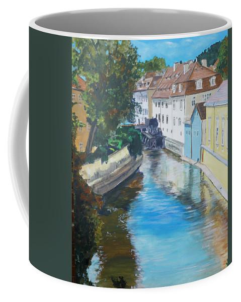 Prague Coffee Mug featuring the painting A Scene In Prague 2 by Bryan Bustard