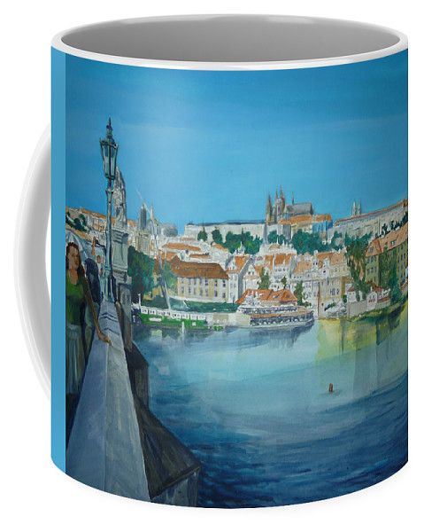 Prague Coffee Mug featuring the painting A Scene In Prague 3 by Bryan Bustard