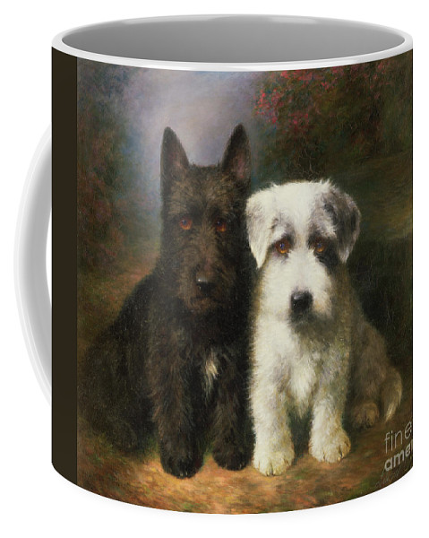 Dogs Coffee Mug featuring the painting A Scottish And A Sealyham Terrier by Lilian Cheviot