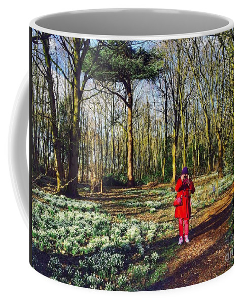 Snowdrops Coffee Mug featuring the photograph A Selfie In Snowdrop Wood by Joan-Violet Stretch