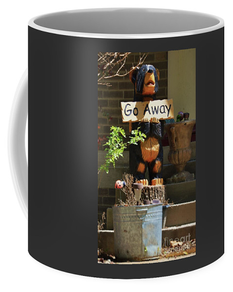 Humor In Signage Outdoors Whimsical Vision Garden Omaha Anti Welcome Sign Wooden Carved Bear Bucket Vertical Vision Canvas Print Poster Print Metal Frame Available On Greeting Cards T Shirts Mugs Tote Bags Shower Curtains Spiral Notebooks And Phone Cases Coffee Mug featuring the photograph A Sign For Those Who Bug You by Marcus Dagan