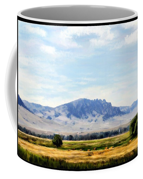 Digital Art Coffee Mug featuring the painting A Sleeping Giant by Susan Kinney
