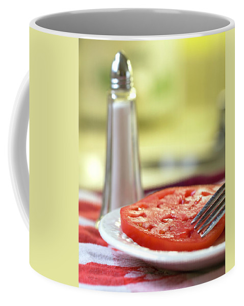 Food Coffee Mug featuring the photograph A Slice Of Beefsteak Tomato With Salt by Betty Denise