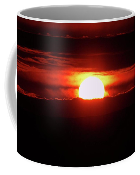 Sunset Coffee Mug featuring the photograph A Slow Red Sunset by Jeff Swan