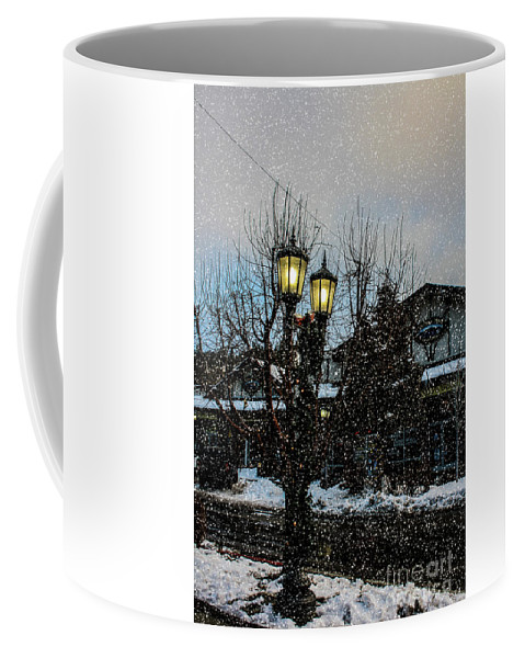 Big Bear Coffee Mug featuring the photograph A Snowy Christmas At Big Bear by Tommy Anderson