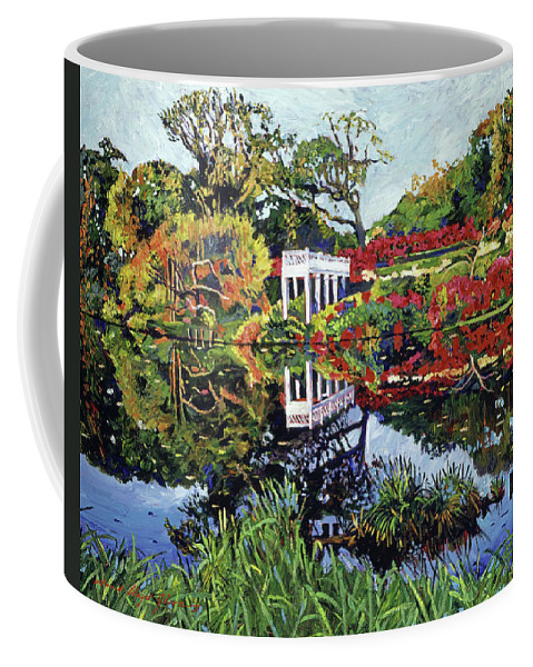 Gardens Coffee Mug featuring the painting A Still Lake by David Lloyd Glover