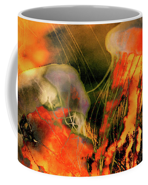 Surreal Jellyfish Art Print Coffee Mug featuring the photograph A Sting Like Fire by Susan Maxwell Schmidt