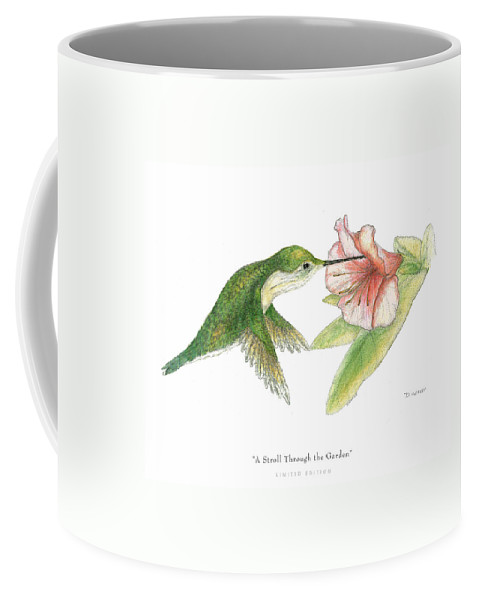 Hummingbird Drinking Nectar Coffee Mug featuring the drawing A Stroll Through The Garden by David Weaver