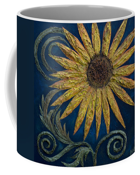 Sunflower Coffee Mug featuring the painting A Sunflower by Kelly Jade King