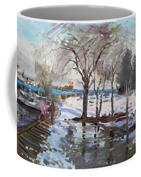 Landscape Coffee Mug featuring the painting A Sunny Freezing Day by Ylli Haruni