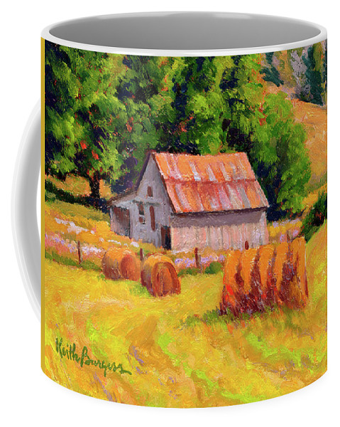 Landscape Coffee Mug featuring the painting A Sunny Morning by Keith Burgess