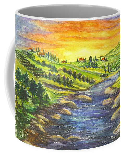 California Coffee Mug featuring the painting A Sunset In Wine Country by Carol Wisniewski