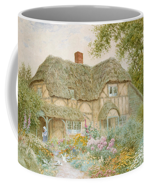 A Surrey Cottage (w/c) By Arthur Claude Strachan (1865-1935) Coffee Mug featuring the painting A Surrey Cottage by Arthur Claude Strachan