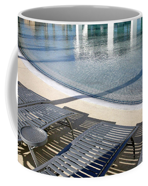 Swimming Coffee Mug featuring the photograph A Swimming Pool by Cora Wandel