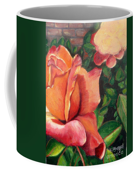 Rose Coffee Mug featuring the painting A Tale Of Two Roses by Laurie Morgan