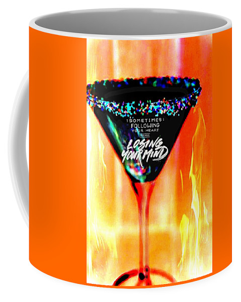 Flaming Martini Glass Coffee Mug featuring the digital art A Toast To The Heart And Mind by Pamela Smale Williams