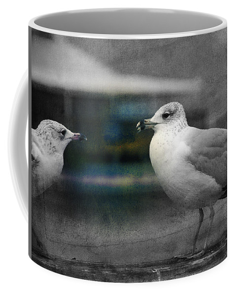 Two Seagulls Coffee Mug featuring the photograph A Touch Of Blue by Susanne Van Hulst