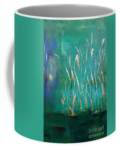 Abstract Landscape Coffee Mug featuring the painting A Touch Of Teal by Frances Marino