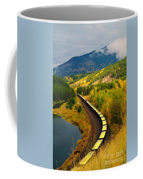Trains Coffee Mug featuring the photograph A Train Of Golden Grain by Jeff Swan