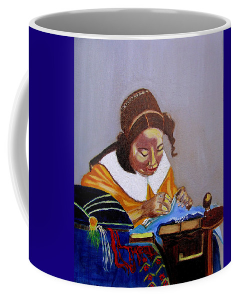 Pastiche Coffee Mug featuring the painting A Tribute To Vermeer The Lacemaker by Rusty Gladdish
