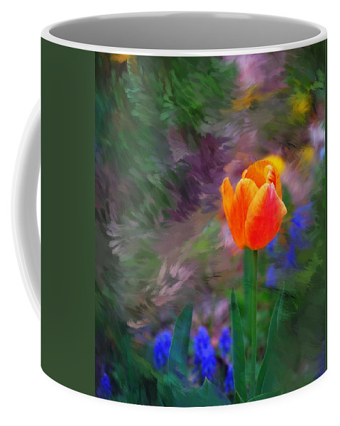 Floral Coffee Mug featuring the digital art A Tulip Stands Alone by David Lane