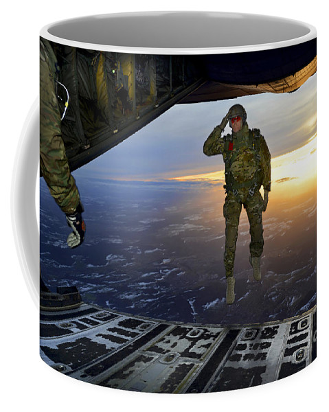 C-130 Coffee Mug featuring the photograph A U.s. Soldier Salutes His Fellow by Stocktrek Images