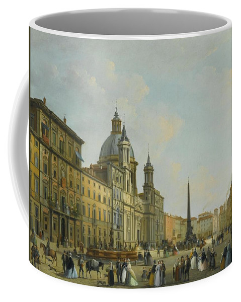 Giuseppe Bernardino Bison Rome Coffee Mug featuring the painting A View Of Piazza Navona With Elegantly by MotionAge Designs