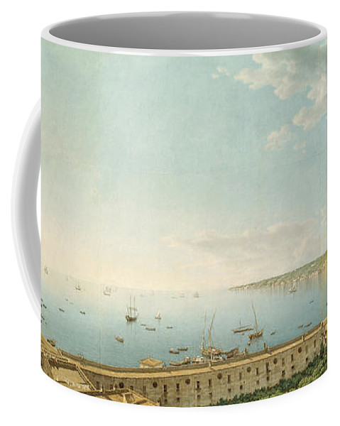 Giovanni Battista Lusieri Coffee Mug featuring the painting A View Of The Bay Of Naples Looking Southwest From The Pizzofalcone Toward Capo Di Posilippo by Giovanni Battista Lusieri