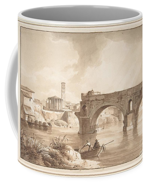 Art Coffee Mug featuring the painting A View of the Tiber from the North Bank by Celestial Images