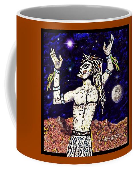 Viking Coffee Mug featuring the drawing A Viking Warrior by Hartmut Jager