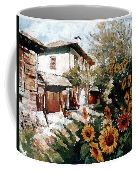 Summer Coffee Mug featuring the painting A Village In Summer by Iliyan Bozhanov