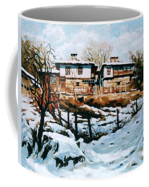 Landscape Coffee Mug featuring the painting A Village In Winter by Iliyan Bozhanov