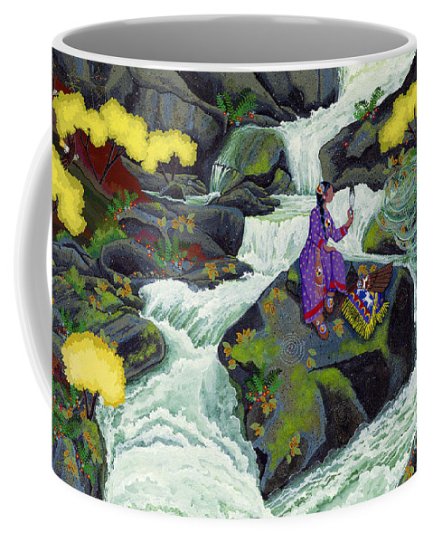 Native American Coffee Mug featuring the painting A Visit From Whirlwind by Chholing Taha