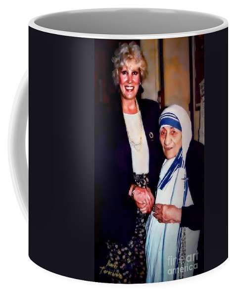 Mother Teresa Coffee Mug featuring the digital art A Vist With Mother Teresa by Kathy Tarochione