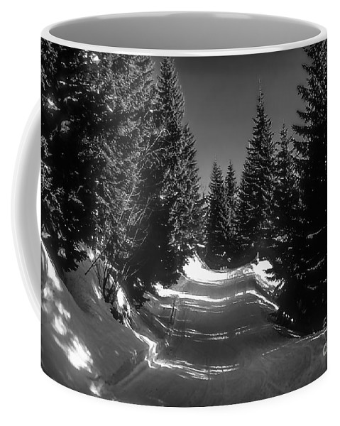 Bavaria Germany Bavarian Alps Tree Trees Snow Winter Black And White Landscape Landscapes Snowscape Snowscapes Coffee Mug featuring the photograph A Walk In Bavaria 2 by Bob Phillips
