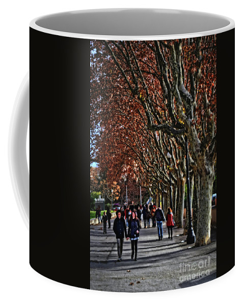 A Walk In The Park Coffee Mug featuring the photograph A Walk In The Park - Valencia by Mary Machare