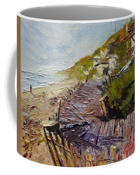 Beach Coffee Mug featuring the painting A Walk On The Beach by Barbara Andolsek