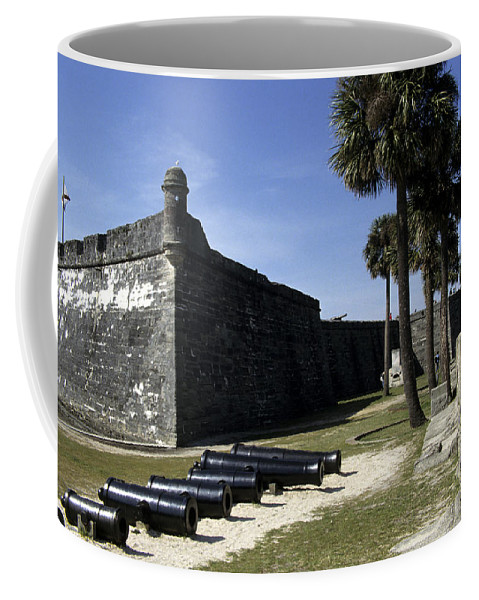 Castillo De San Marcos National Monument Coffee Mug featuring the photograph A Wall Of The Castle At San Marcos by Stacy Gold